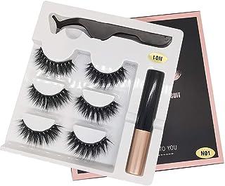 3 Pairs Magnetic False Eyelashes Eye Lashes Extension Kit Liquid Eyeliner Tweezers 07