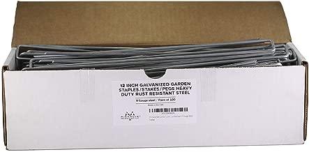 Pinnacle Mercantile 100-Pack 12 Inch Galvanized Garden Staples/Stakes/Pegs Heavy Duty Rust Resistant 9 Gauge Steel