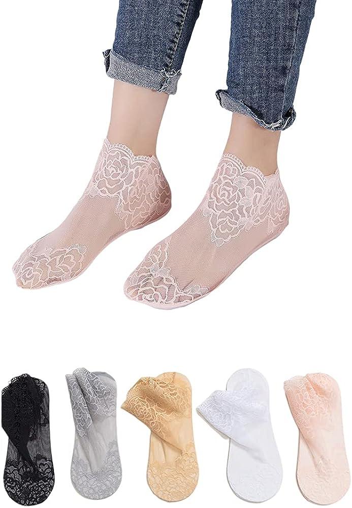 LUAN 5/10 Pairs Womens No Show Socks Lace Rose Footies Socks Ultra-thin Summer Socks Non-Slip Socks for Flats High Heels