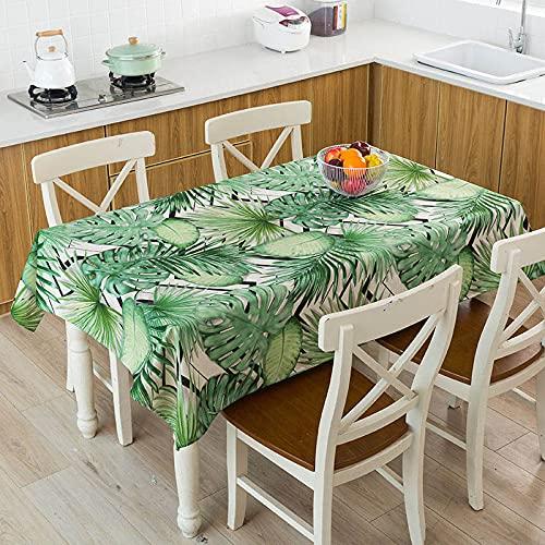XXDD Hojas Verdes Tropicales Monstera Flamingo patrón Impermeable Mantel hogar Cocina decoración de Mesa Mantel A11 140x140cm