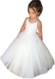dc658b6e4e9 Kengtong Simple Fille Robe de Princesse de Cérémonie de Partie sans Manche  Longue Mollet Tutu Blanc