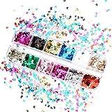 upain Lentejuelas de Uñas de Mariposa Ultrafina 3D Holográfica, Purpurina de Uñas Brillantina Mariposa, Nail Art para Uñas, para la Decoración de Arte de Uñas, Corporal, Cabello(12 Colores)