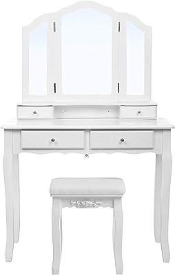 SONGMICS Schminktisch 3 Spiegel mit Hocker u. 4 Schubladen inkl, 2 Stück Unterteiler, Kippsicherung, weiß, RDT07W