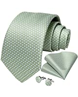 DiBanGu Mens Polka Dot Necktie Silk Sage Green Tie and Pocket Square Cufflink Set Party