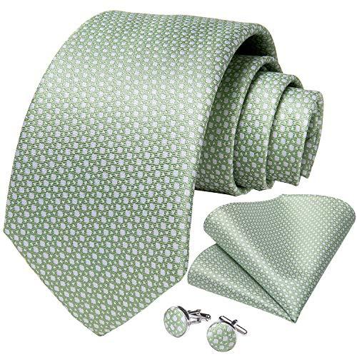 DiBanGu Mens Polka Dot Necktie Silk Sage Green Tie and Pocket Square Cufflink Set Party