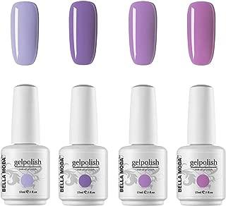 BELLA MODA 15ml Purple Pink Soak Off Gel Nail Polish UV Led Lamp Lacquer Gel Nail Art Decoration Kits 4 Colors Set BM-15 Nail Gel