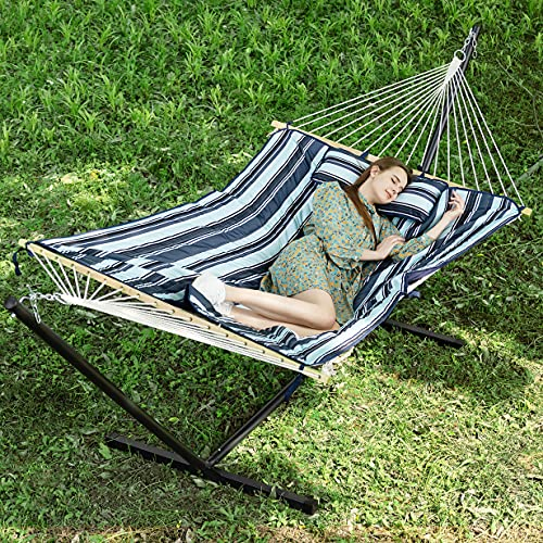 PNAEUT Large Double Hammock with Stand Included 2 Person Heavy Duty 2 People Rope Hammocks and Stand...