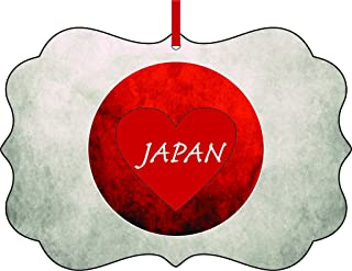 Rosie Parker Inc. Japanese Flag-Japan-TM Double-Sided Benelux Aluminum Holiday Hanging Tree Ornament. Made in The USA!