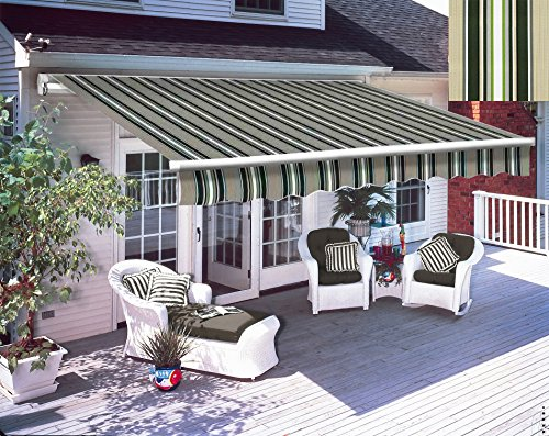 Greenbay 2.5 x 2m DIY Patio Retractable Manual Awning Garden Sun Shade Canopy Gazebo Multi-Stripe with Fittings and Crank Handle