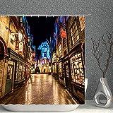 Plataforma 9 y 3/4 Hogwarts Express Magic School Harry Potter Cortina de ducha decorativa, 70 x 70 pulgadas, tela de poliéster impermeable, accesorios de baño con 12 ganchos