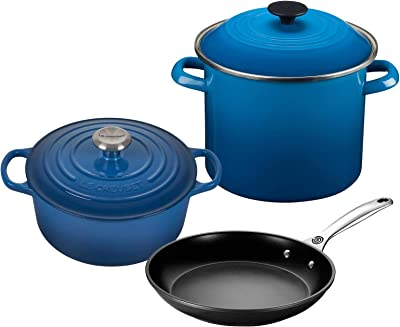 "Le Creuset 5-Piece Oven and Stovetop Cookware Bundle with 4-1/2 QT Round Dutch Oven, Le Creuset 8 QT Covered Stockpot, and Le Creuset 10"" Toughened Nonstick Pro Fry Pan - Marseille"