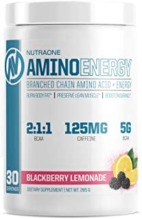 Amino Energy BCAA Powder Pre-Workout Supplement with Caffeine by NutraOne – Branched Chain Amino Acids to Help Fuel and Re...
