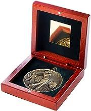 Lapal Dimension Rosewood Box en 60mm Medal Golf Trophy - Antiek Zilver - 10,8 cm