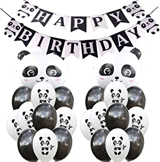 SFSL Panda Birthday Decorations Party Supplies,Panda Birthday Mylar Balloon,Panda Latex Balloon,Panda Happy Birthday Banner Great for Kids Panda Bear Birthday Decorations,Photo Props