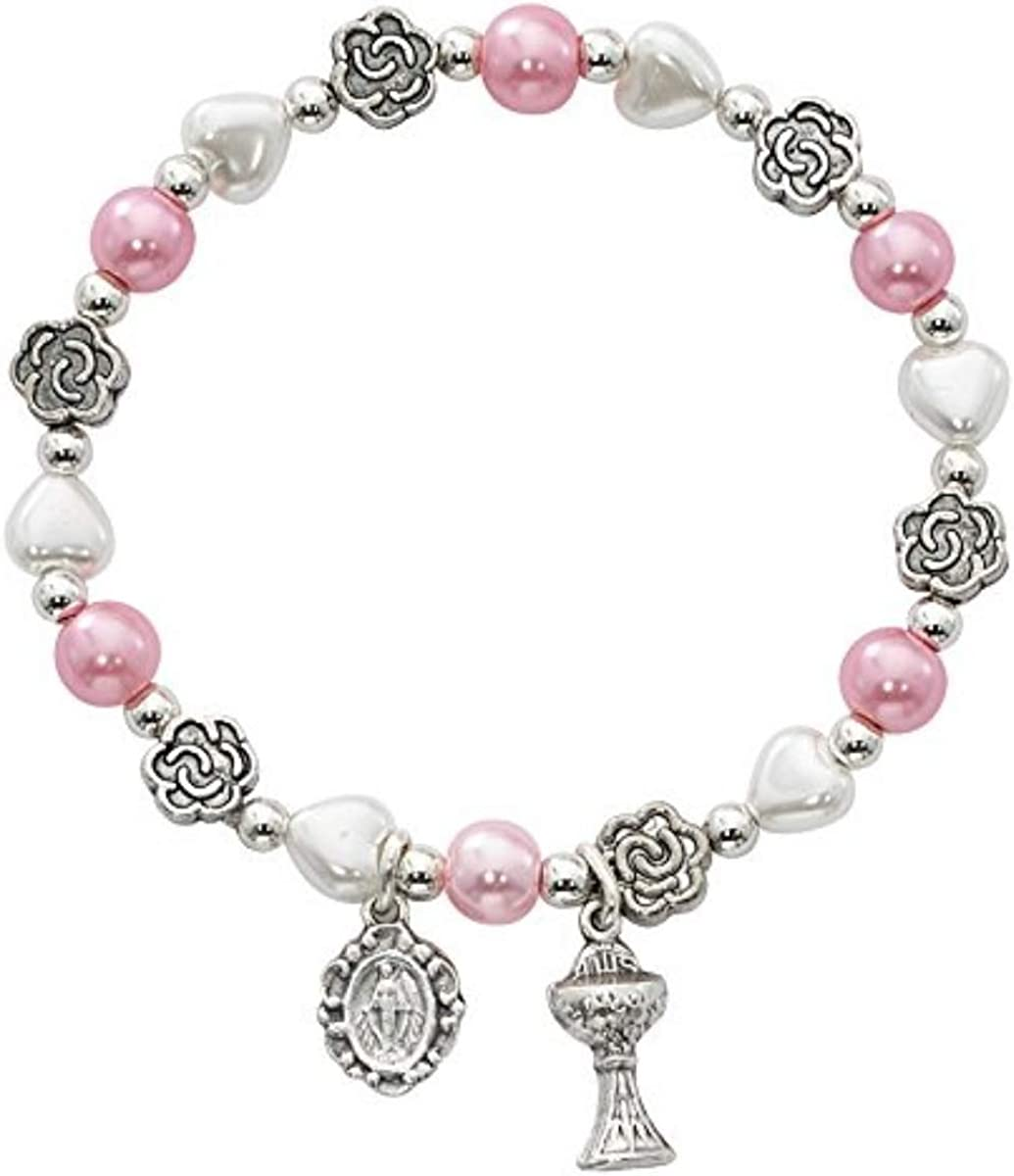 First Communion Pink and White Bead Heart Soldering Bracelet Fixed price for sale wi Flower