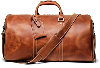 Leathfocus Leather Travel Duffel Bag, Classic Leather Weekend Bag Mens Gift Overnight Retro Sport Gym Carry on Luggage YKK Zipper (Brown)
