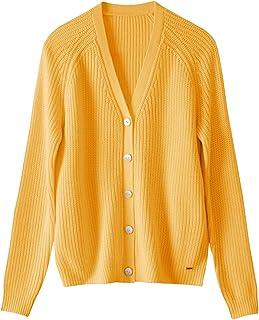 Sponsored Ad - 织礼 Women's V-Neck Fine Jersey Cardigan Sweater, Oversized Chunky Knit Button Closure Merino Wool Coat