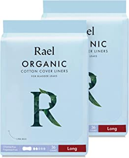 Rael Organic Incontinence Liners Long - Organic Bladder Control Liners, 4-Layer Core Protection with Leak Guard Technology (72 Count)