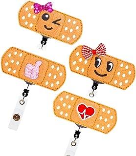 YOROYAL 4 Pack Retractable Nurse Badge Reel with Cute Bandage, RN Badge Holder, 24in Easy Retracting Cord