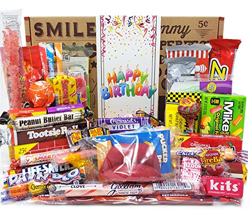 VINTAGE CANDY CO. HAPPY BIRTHDAY NOSTALGIA YEARS CANDY CARE PACKAGE - Retro Candies Assortment...
