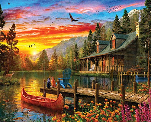 Springbok's 1000 Piece Jigsaw Puzzle Cabin Evening Sunset