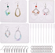 SUNNYCLUE 93pcs Epoxy Silicone Resin Kits Jewelry Casting Mould Tools Set Include 3pcs Earring Resin Moulds /& 10pcs 1ml Pipettes /& 30pcs Earring Hook /& 50pcs Jump Ring