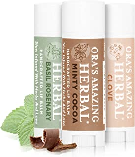 Natural Lip Balm Gift, Infused with Organic Herbs (Minty Cocoa, Clove, Basil Rosemary 3 Pak)