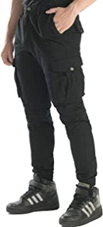Men Tapered Cargo Pants Slim Fit Chino Joggers Work Trousers with Pockets