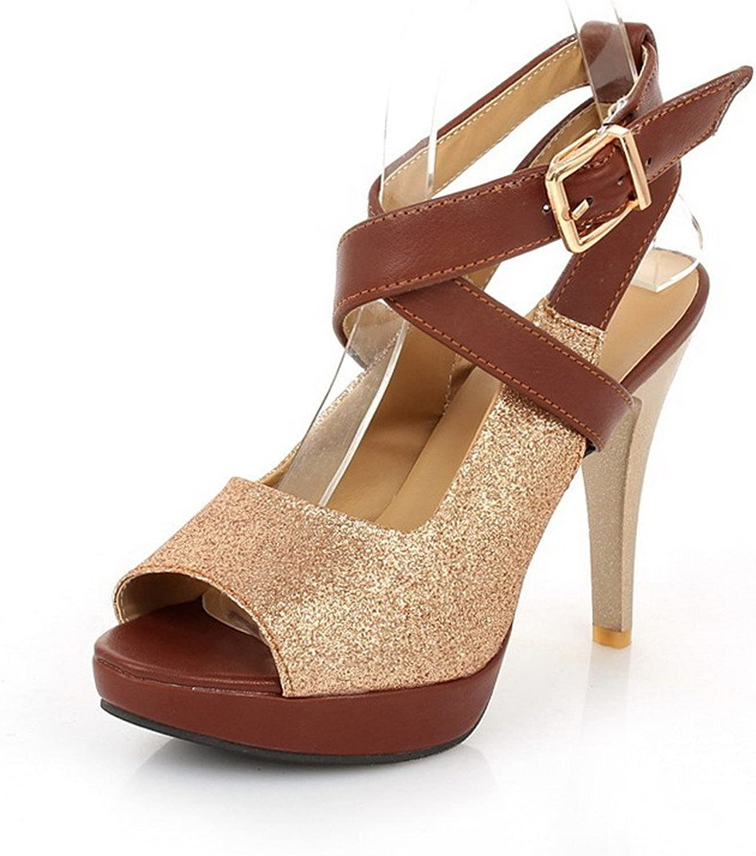 AmoonyFashion Women's Blend Materials Solid Buckle Peep Toe High-Heels Heeled-Sandals