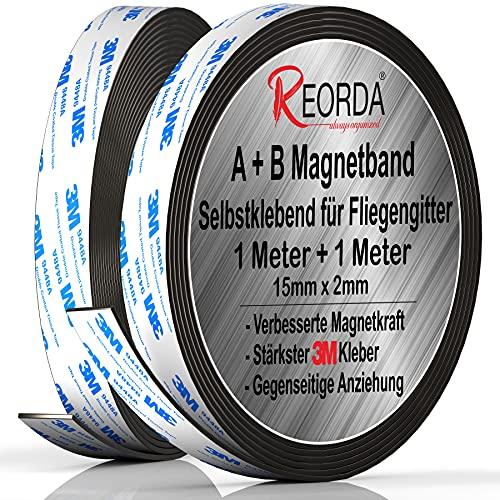 Reorda® Magnetband A B - Hervorragend für Fliegengitter & Moskitonetze dank gegenseitiger Anziehung - Magnetband selbstklebend mit stärkst möglichen 3M-Kleber für beste Klebekraft