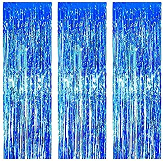 3 Pack Foil Curtains Metallic Foil Fringe Curtain for Birthday Party Photo Backdrop Wedding Event Decor (Blue)