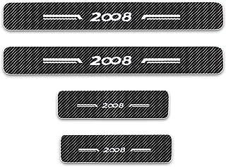 AKKNE 4Pcs Acciaio Inox Battitacco Batticalcagno Auto Styling Accessori per Peugeot 5008 SUV GT 2017-2019 Soglia Pedale Scuff Kick Plate Protettore Rivestimento Adesivo Guardia Copertura