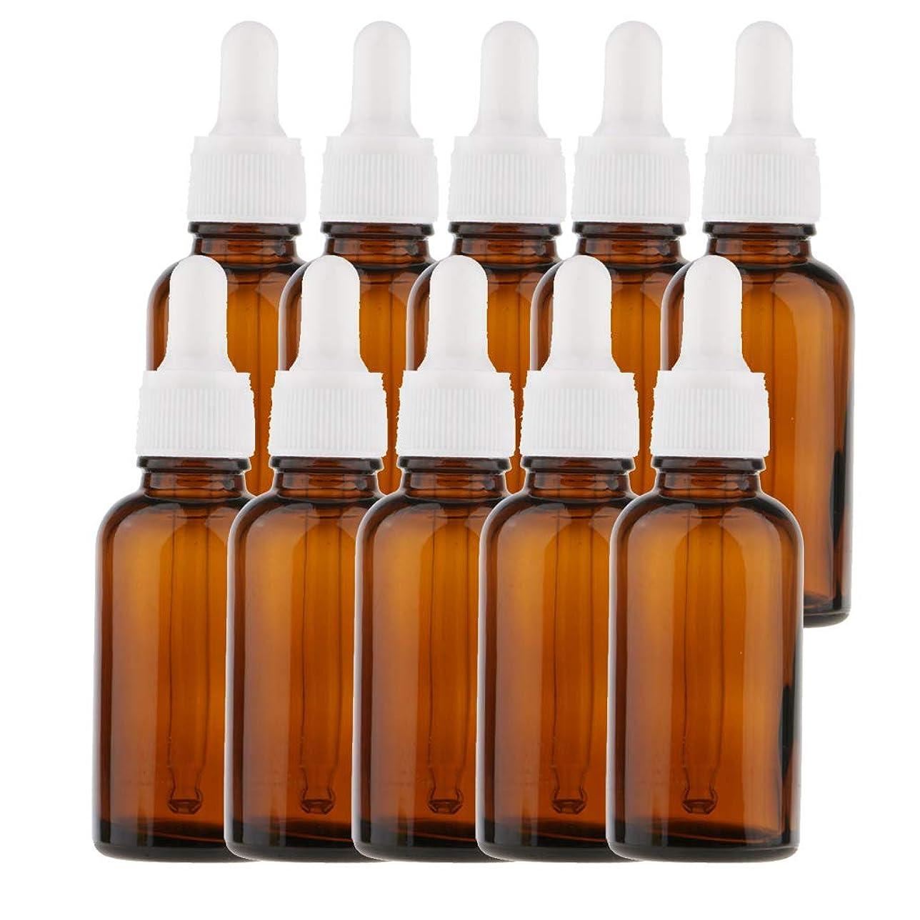 飼い慣らすせせらぎバケツFenteer 10個 オイルボトル 空ボトル ガラス コスメ用 詰替え ドロッパー バイアル チューブ 旅行小物 5サイズ選べる - 30ml