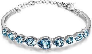 YELLOW CHIMES Swarovski Elements Deep Ocean Love Hearts Bracelet for Women and Girls