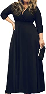6b8cc6802bb2 POSESHE Women's Solid V-Neck 3/4 Sleeve Plus Size Evening Party Maxi Dress