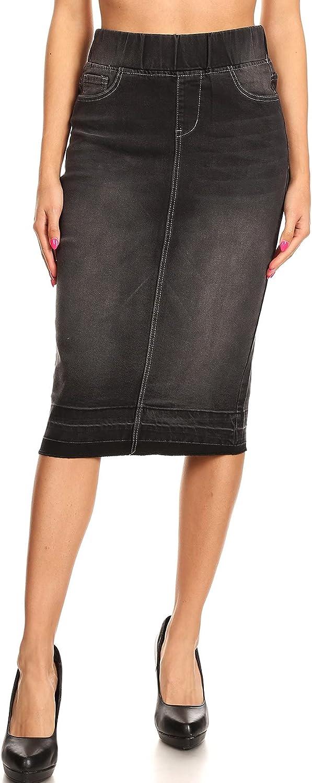 Fashion2Love Women's Juniors/Plus SizeHigh Waisted Shaping Pull-On Stretch Denim Skirt