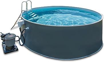 BWT Stahlwandpool-Set Grigio   Aufstellbecken mit 350cm Durchmesser & 120cm Beckentiefe   Komplett-Set mit Sand-Filteranalage und Zubehör