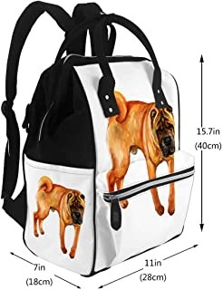 Diaper Bag Backpack, Large Capacity Baby Nappy Changing Bag Watercolor Closeup Portrait Cute Wrinkled Chinese Shar Pei Breed Dog Multi-Function Waterproof Travel Back Pack
