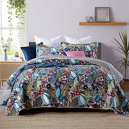 Colchas de algodón acolchado de 3 piezas, tamaño king, reversible, bordado con flores, patchwork, colcha, ligera, doble, cubierta de cama, ropa de cama decorativa con 2 fundas de almohada, azul, 230 y