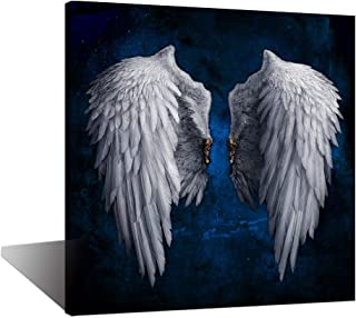 Biuteawal - Angel Wings Canvas Print Wall Art Grey Wings on Starry Background Picture Painting The Powerful Wing Home Decoration Contemporary Abstract Artwork Framed for Artistic Photo Shoot
