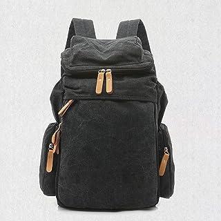 PANFU-AU Unisex Casual College Bag Hiking Bag 15-inch Laptop Business Backpack Canvas Rucksack Canvas Backpack Vintage Outdoor Rucksack Laptop Backpack (Color : Black)