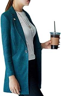 maweisong レディースミッドロングブレザープラスサイズノッチラペルパッチスーツコート