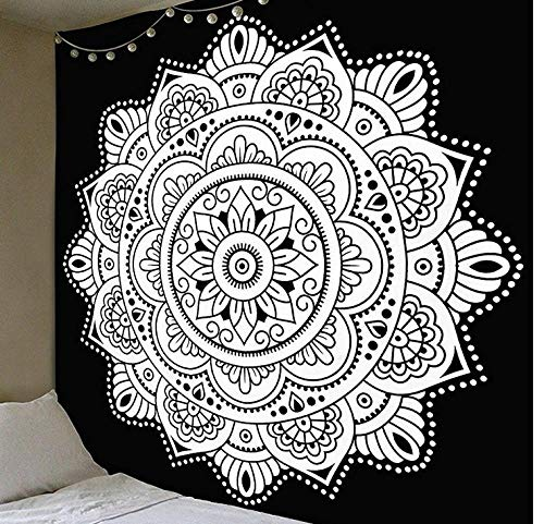 Indian Elephant Mandala Tapestry Tela Colgante Serie Mandala 3D Impresión Digital Tapiz Patrón Hogar Pared Colgante Decoración De Pared Decoración De Interiores Tela-A-00026_180 * 230 Cm (Secci