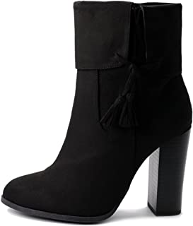 Women's Shoe Faux Suede Back Zip Up Stacked High Heel Tassel Ankle Boots