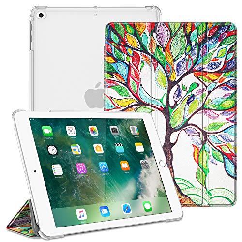Fintie Hülle für iPad 9.7 Zoll 2018 2017 / iPad Air 2 (2014) / iPad Air (2013) - Ultradünn Schutzhülle mit transparenter Rückseite Abdeckung Cover mit Auto Schlaf/Wach Funktion, Liebesbaum