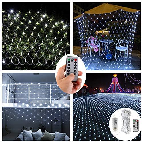 Batteriebetrieben 200er LED Lichterketten Netz Lights für Draußen Innenräume,3Mx2M,Deko Leuchte für Weihnachten Schlafzimmer Weihnachten Hochzeit -Fernbedienung,Wasserfest,8 Modi,Timer,Dimmbar-Weiß