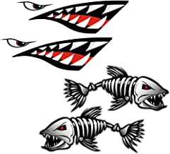Jili Online Shark Teeth Mouth Decals + Skeleton Fish Stickers - Waterproof and Durable Funny Vinyl Stickers for Kayaks Canoes Fishing Boats