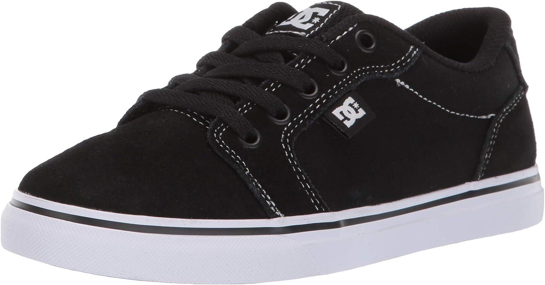 DC Boys' Anvil Skate Shoe, WHITE/BLACK/BLACK, 12 M US Little Kid
