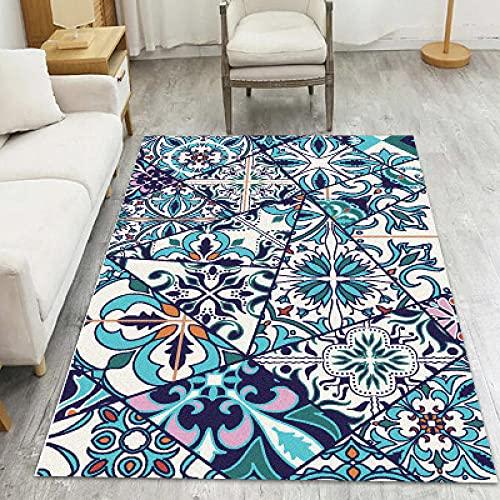 Home Alfombra De Diseño Moderna Estampado Oriental Alfombras Salon Grandes Rejas de Ventana de Mosaico Azul 140×200CM_(4ft7 x_6ft6)