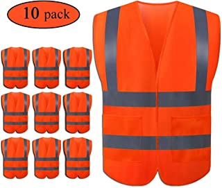 JSungo High Visibility Orange Safety Vest 10 Pack, ANSI Class 2 Identification Security Vest with 4 Reflective Silver Strips, Velcro Construction Vest for Night Running, Jogging, Cycling Walking
